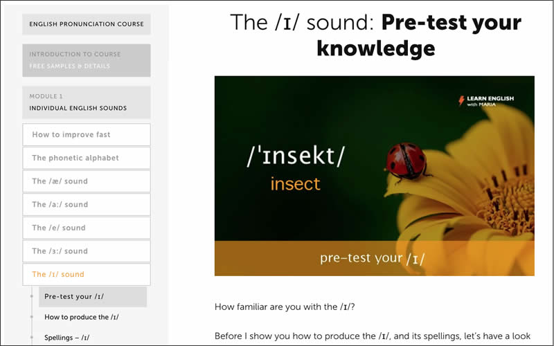 English pronunciation course - Free lessons